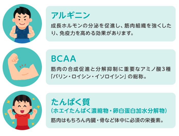 セノッピーアルギニン、BCAA、タンパク質